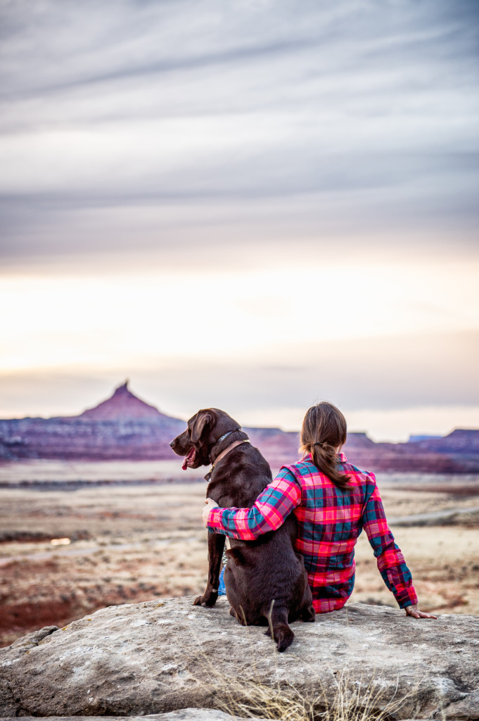 Lauren DouBrava and Keeto enjoying a desert sunset, Indian Creek. Photo Tobias MacPhee