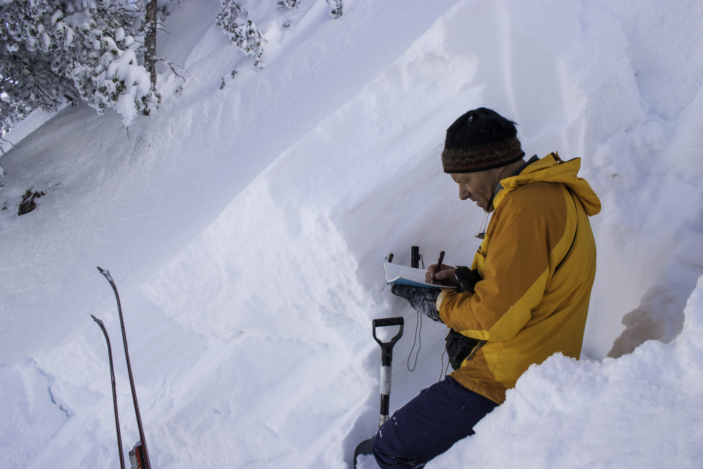 Bruce Tremper, Director of the Utah Avalanche Center investigates a large avalanche on the Argenta slide path in Big Cottonwood Canyon, Utah