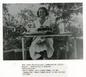 Marie with typewriter