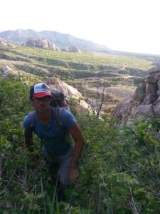 Josh Kitchen bushwaking the approach to Epoch Dome