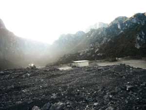 The container in Indonesia with Carstensz Pyramid in the background