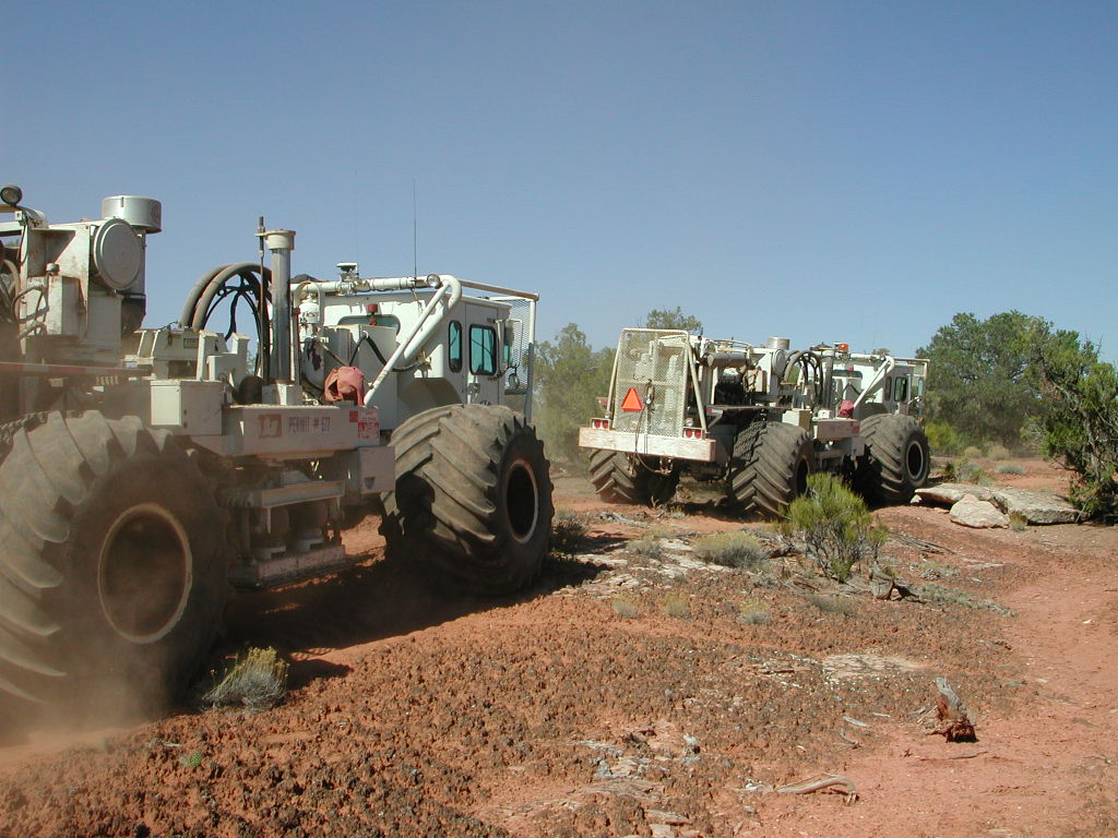 """Seismic """"thumper trucks"""" in the Moab area. Photo- Kevin Walker"""
