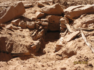 A looted grave site in Cottonwood Wash